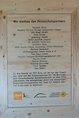 Kirr, Ornithologischer Verein Halle, Spendentafel, Spende, NATUREFUND